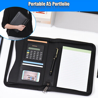 Business Padfolio Portfolio Folder Organizer A5 Pu Leather Zippered Closure Z4l5