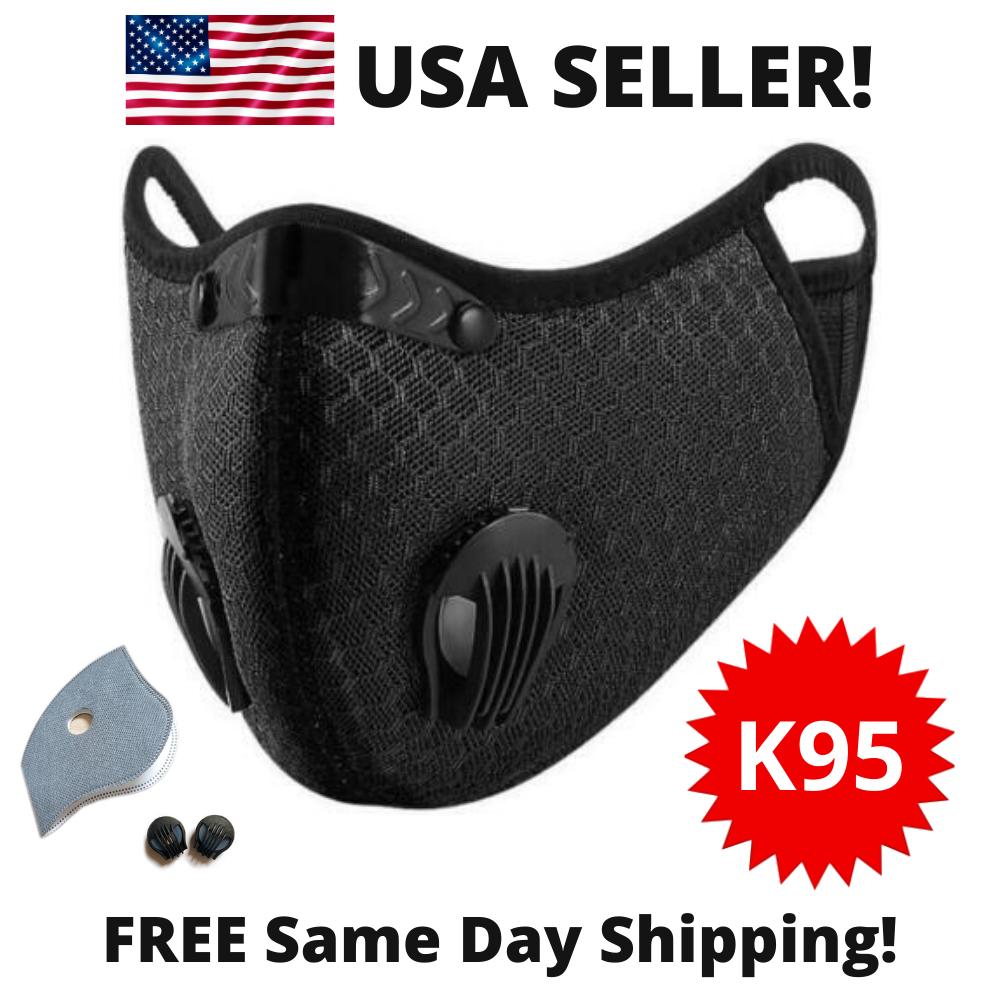 USA Activated Carbon Air Purifying Face Mask Cycling Reusable Filter Haze Valve