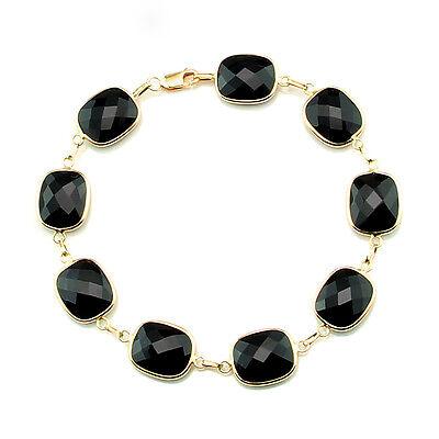 14K Yellow Gold Fancy Cut Black Onyx Bracelet 7.5 Inches