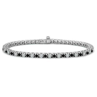 2 Ct Round Cut Black & White Diamond Link Tennis Bracelet In 14K White Gold Over 2ct Round Diamond Tennis Bracelet