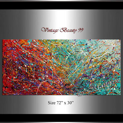 Painting Jackson Pollock Style Drip Art painting on canvas, thick paints
