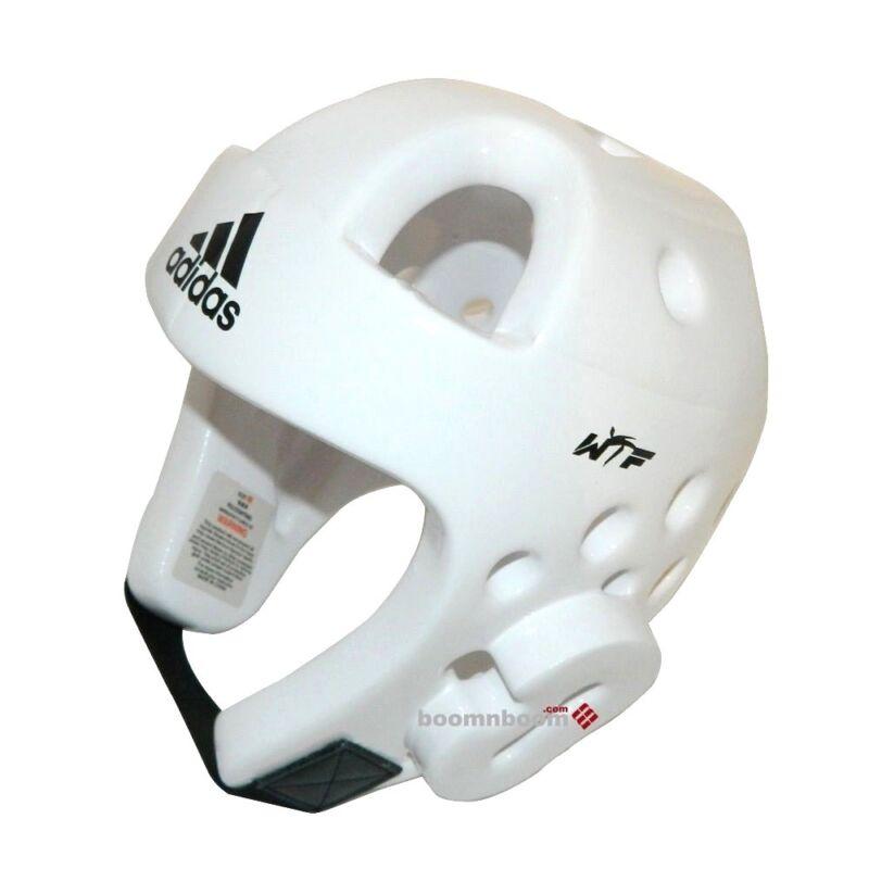 adidas New DELUXE Taekwondo Head Gear Karate MMA Sparring Helmet Protector-WHITE