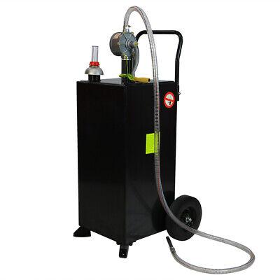Black 30 Gallon Gas Caddy Tank Storage Drum Gasoline Diesel Fuel Transfer Tool