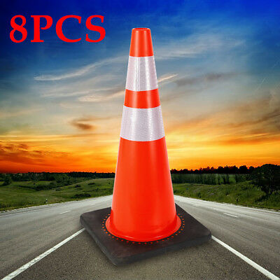 8pcs 28 Pvc Road Traffic Safety Cone With Two High-intensity Reflective Collars