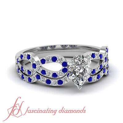1 TCW. Pear Shaped Diamond & Blue Sapphire Bridal Rings Pave Set SI2-G Color GIA