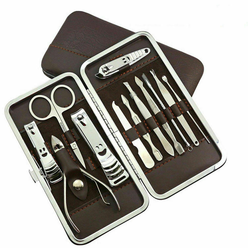 Portable Beauty Grooming Nail Manicure Pedicure 12 Piece Gift Kit Case Traveling Health & Beauty