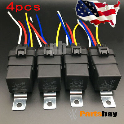 4 Pack 12v 40 Amp Car Auto 5 Pin Wire Relay Waterproof Plug Socket Heavy Duty