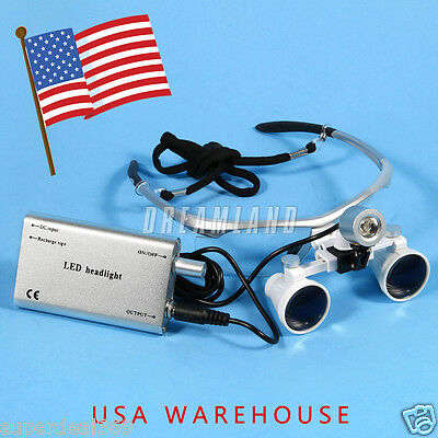 Dental Surgical Binocular Loupes Magnifier Glasses Led Head Light Lamp Dr. Usa