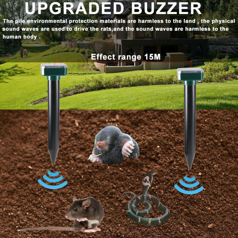 4 Pack Solar Power Ultrasonic Mouse Gopher Mole Pest Rodent Repellent Repeller