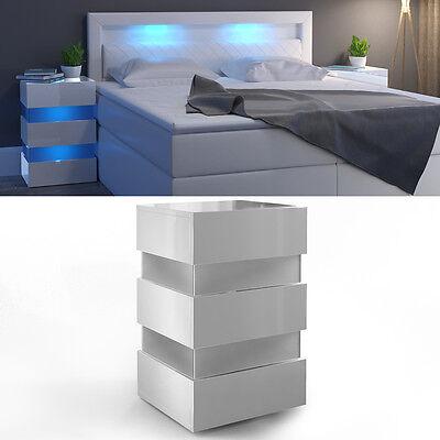 Nachttisch LED Kommode Nachtschrank Schublade Ablage Schlafzimmer Weiß Hochglanz