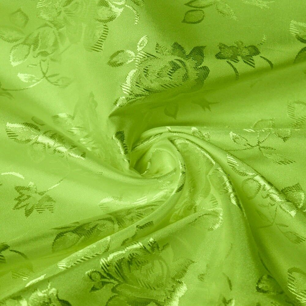 34 Colors Kayla Floral Jacquard Brocade Satin Fabric by the Yard - 10004 Lime Green