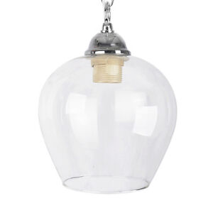 Taditional Clear Glass Bell Shaped Ceiling Light Lamp Shade Contemporary Pendant