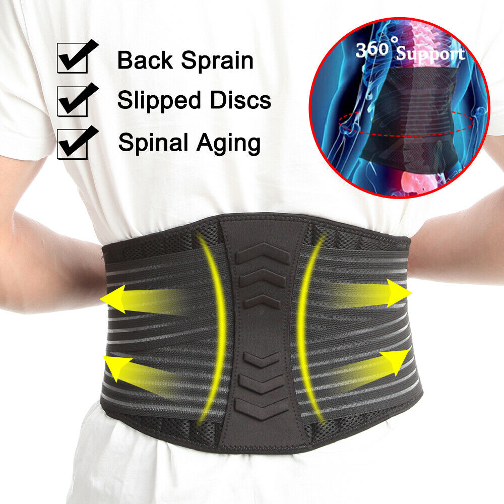 Lower Back Support Brace Lumbar Waist Belt Double Pull Breat