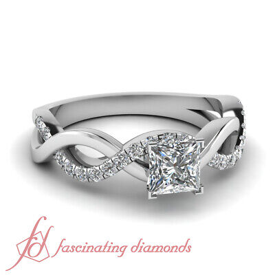 .90 Ct Princess Cut Diamond Intertwined Pave Engagement Ring in White Gold GIA