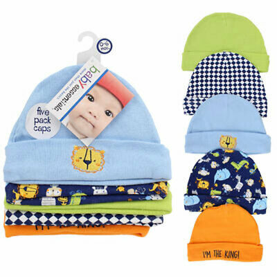 5 PACK Baby Infant Assorted Caps Hats Set 100% COTTON 0-6 Mo