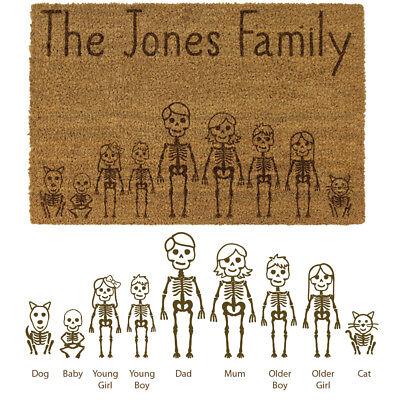 JVL Halloween Skeleton Family Personalised Laser Printed Custom Coir Door Mat - Personalized Halloween Doormat