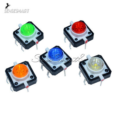 5pcs Dc12v 12x12x7.3 Tactile Push Button Switch Momentary Tact Led 5 Color