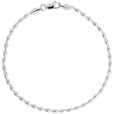 Sterling Silver 2.3 mm Oval Bead Ball Chain Necklace or Bracelet, Made in Italy - Beaded Necklaces