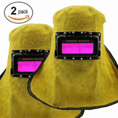 2packs Leather Solar Auto Darkening Filter Lens Welder Welding Hood Mask Helmet