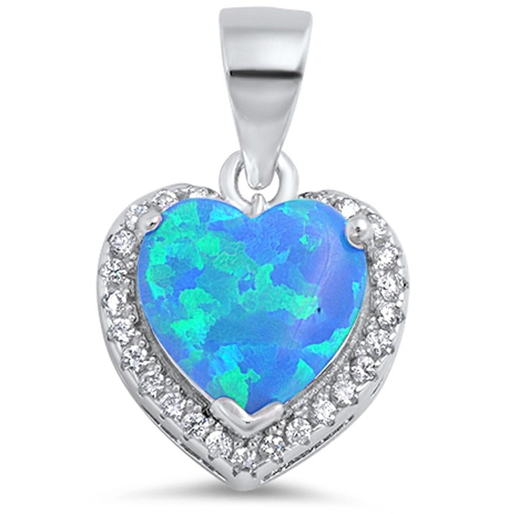 Blue Fire Opal Heart With Cz 925 Sterling Silver Pendant