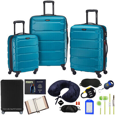 Samsonite Omni Hardside Luggage Spinner Set, Caribbean Blue w/ Accessory Kit