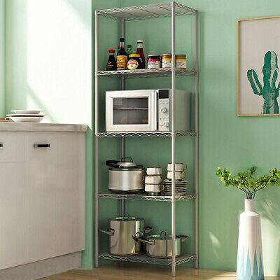5 Tier Wire Shelving Rack Unit Kitchen Bathroom Garage Storage Shelves Organizer Kitchen Shelving Unit