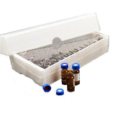 Amber Sample Vial Cap 2ml Glass Bottle With Write-on Spot 9-425 Vials 100pcs