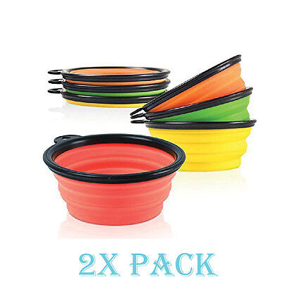 - 2 Pack Collapsible Dog Bowl Foldable Expandable Dish for Pet Cat Food Water Food