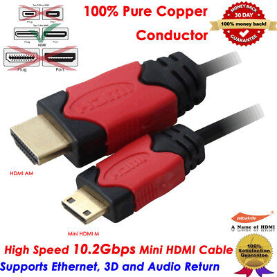Short/Long Mini HDMI to HDMI Cable w/Ethernet For Camcorder HDTV Camera 1080P 4K