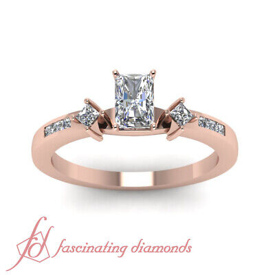 .60 Ct Rose Gold Radiant Cut Diamond Ring With Channel Set Princess Cuts GIA 1