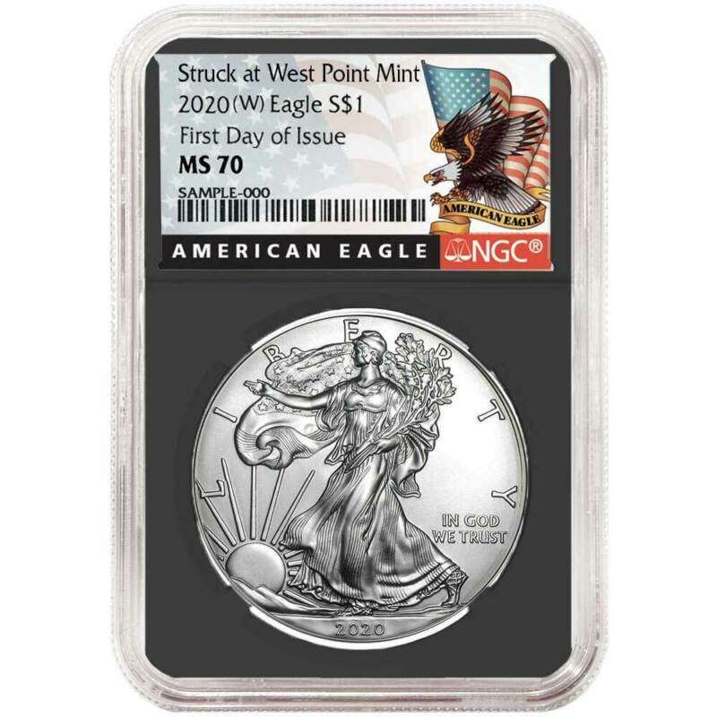 2020 (W) $1 American Silver Eagle NGC MS70 FDI Black Label Retro Core