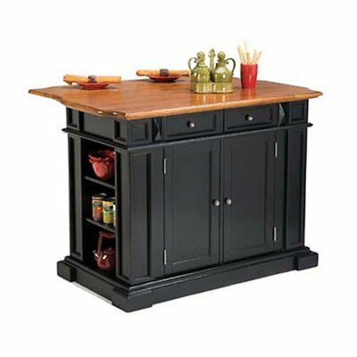 Home Styles and Oak Finish Large Kitchen Island, Black, 49.75 inches