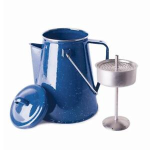 NEW Stansport 8 Cup Percolator Enamel Coffee Pot with Basket Condtion: New, Blue
