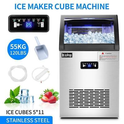 2 In 1 Commercial 55kg Ice Maker Wwater Dispenser 120lbs In 24hrs 24lbs Storage