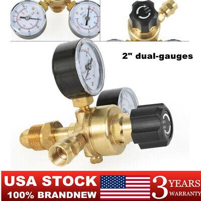 Argon Co2 Mig Tig Flow Meter Regulator Welding Gas Welder Gauge 2 Dual-gauges