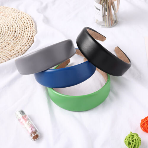 Faux Leather Hairbands Solid PU Women Headbands Fashion Wide