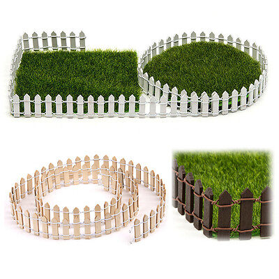 Miniature Fairy Garden Wood Fence Doll House Terrarium DIY Accessories Kit Decor