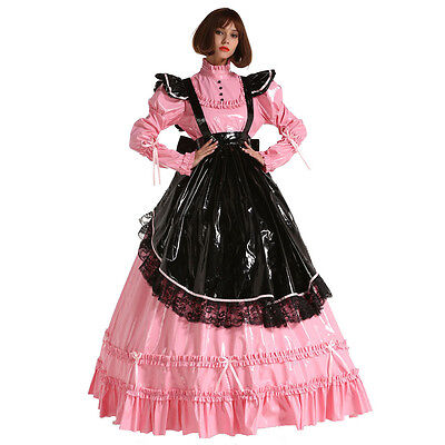 French Style PVC Sissy Maid Lockable Long Dress Costume Mistress Crossdress - Mistress Maid Costume
