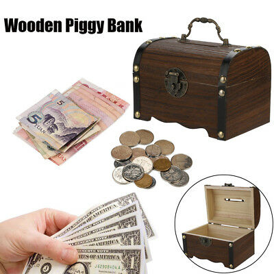 Wooden Carving Piggy Bank Money Savings Box With Safe Lock Handmade Coin Box (Wooden Piggy Banks)