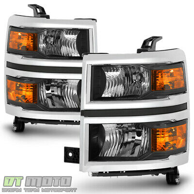 2014-2015 Chevy Silverado 1500 Pickup w/Chrome Trim Headlights Headlamps Pair