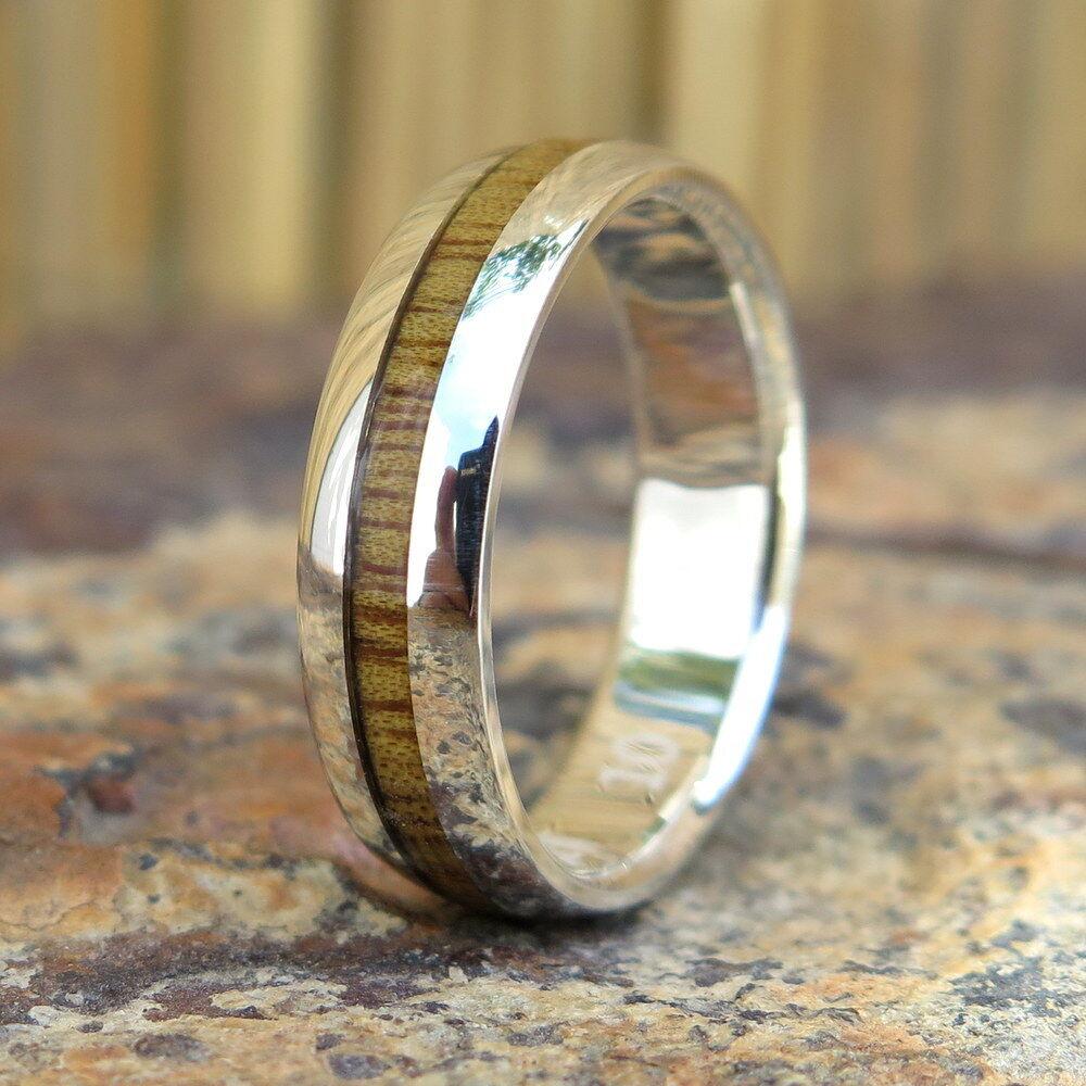 Hawaiian 925 Sterling Silver Koa Wood Double Inlay Wedding Ring Band 6mm SWR1007
