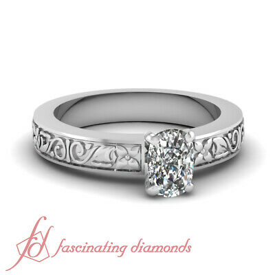 Solitaire Floret Carved Engagement Ring 1/2 Carat Cushion Cut VS2 Diamond GIA
