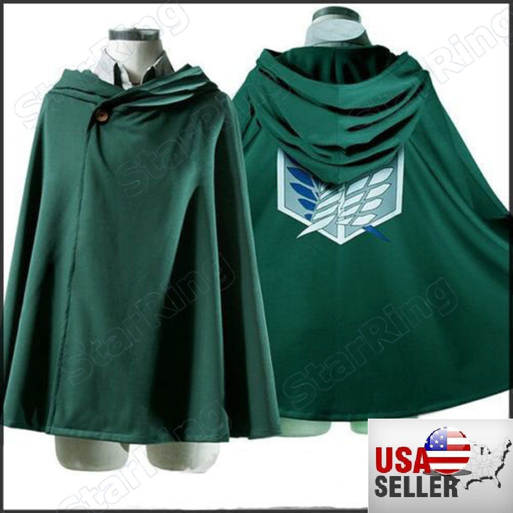 NEW! USA Cosplay Attack on Titan Anime Shingeki no Kyojin Cloak Cape Cloth