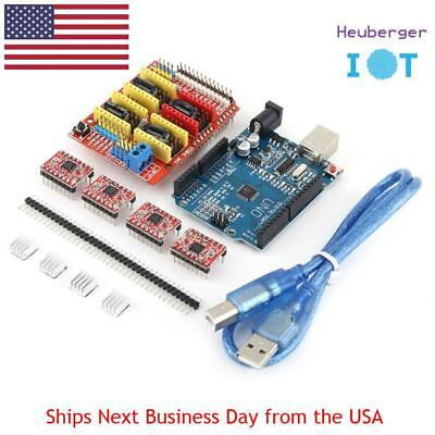 4 x A4988 Stepper Motor Driver with Heat Sink + UNO R3 Board + CNC Ramps Shield