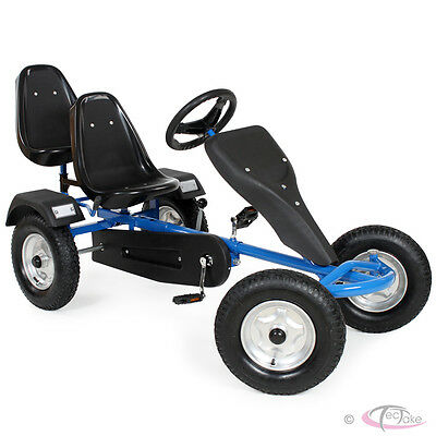 Go Kart Pedal 2 seater Ride On Car Rubber Tires blue