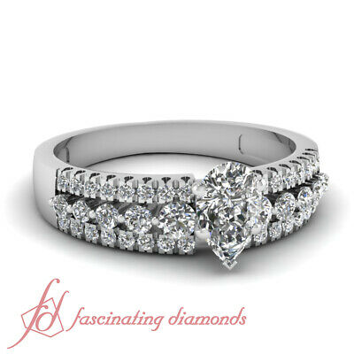 Traditional Triple Row Rings With 1.10 Ct Pear Shape GIA Certified Diamond 14K