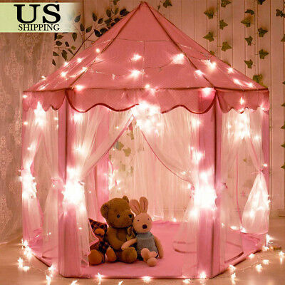 Pink Princess Castle House Indoor/Outdoor Kids Play Tent for Girls w/ LED Lights - Pink Tent