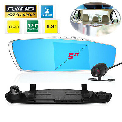 "5"" HD 1080P Dual Lens Car DVR Rearview Mirror Video Dash Cam Camera Night Vision"