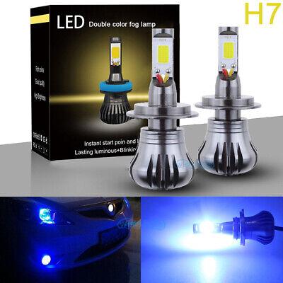 2x H7 LED Dual Mode COB LED Fog Light Bulbs 2400LM Blue Color 10000K High