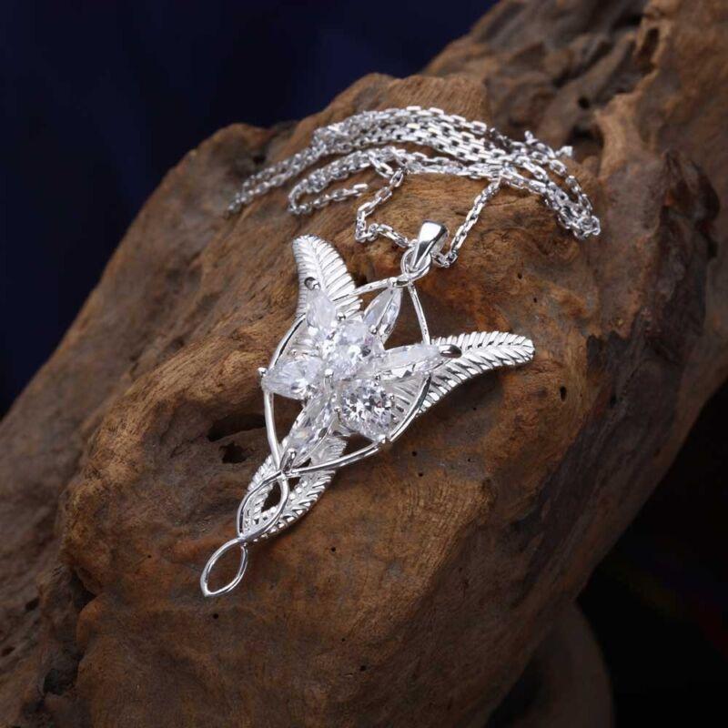Classic Women 925 Sterling Silver LOTR Arwen Evenstar Zircon Pendant Necklace